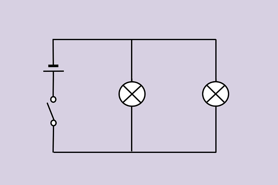 Circuit Diagram Photograph - Lamps Connected In Parallel by Sheila Terry
