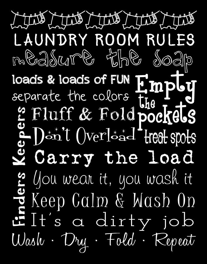Laundry Room Posters Laundry Room Rules Poster Digital Artjaime Friedman