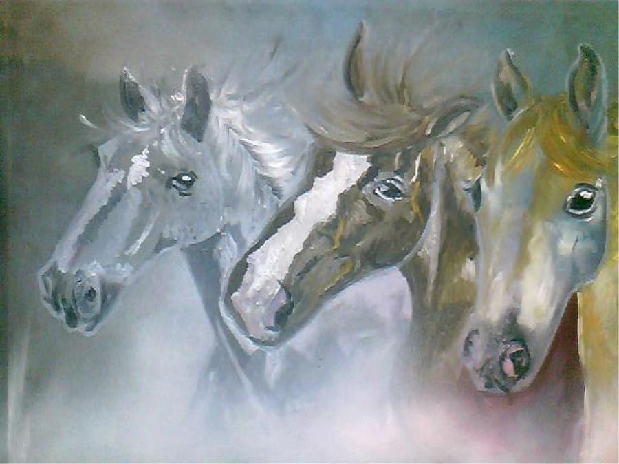 Horses Painting - Life by Rumesa Saddozai