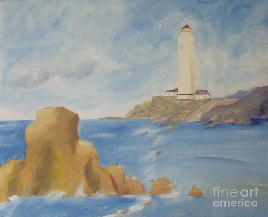 Seascape Painting - Lighthouse by Debra Piro