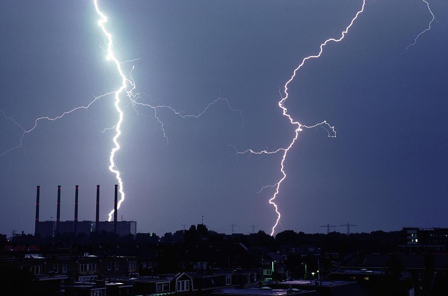 Horizontal Photograph - Lightning Over City by John Foxx