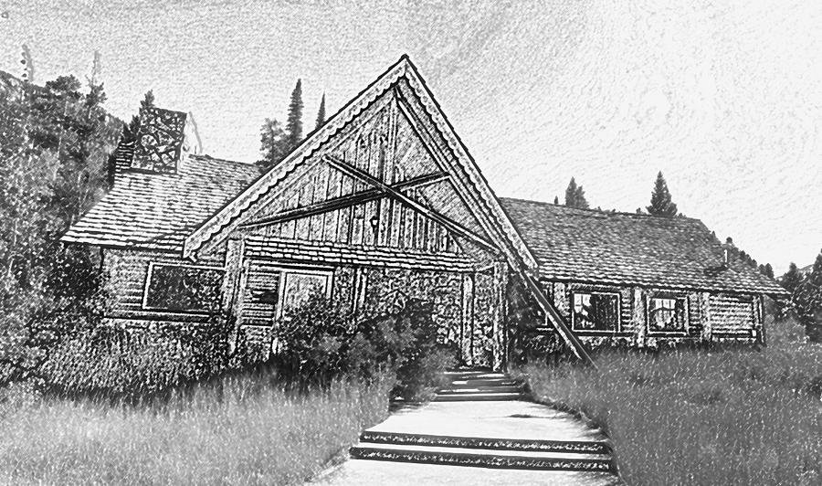 Lily Lake Digital Art - Lily Lake Ranger Station 1 by Bill Kennedy