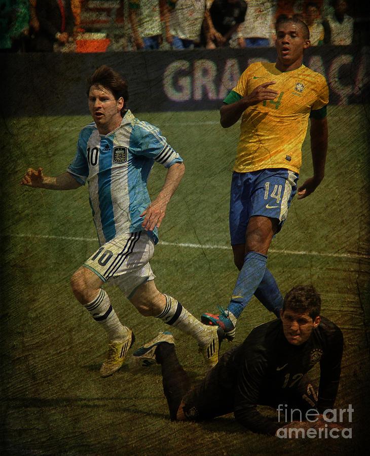 Lee Dos Santos Photograph - Lionel Messi Breaking Raphael Cabrals Ankles II by Lee Dos Santos