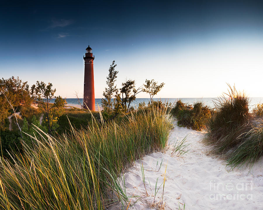 Beach Photograph - Little Sable Point Light Station by Larry Carr