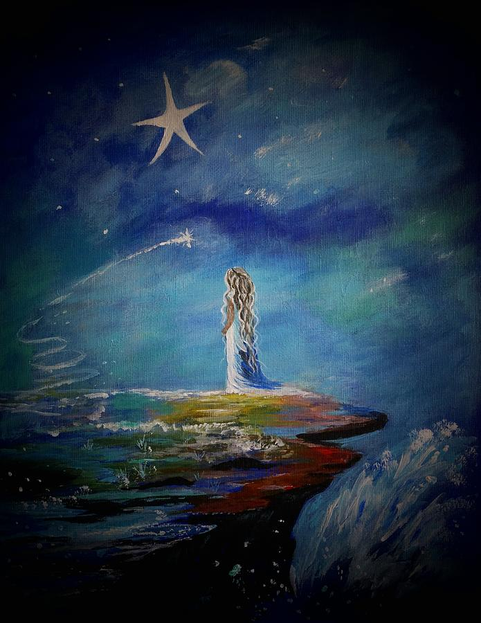 Stars Painting - Little Wishes By The Sea by Leslie Allen