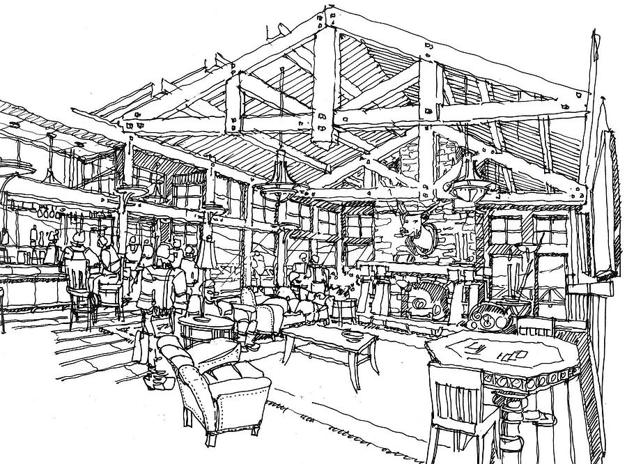 Lodge Drawing by Andrew Drozdowicz