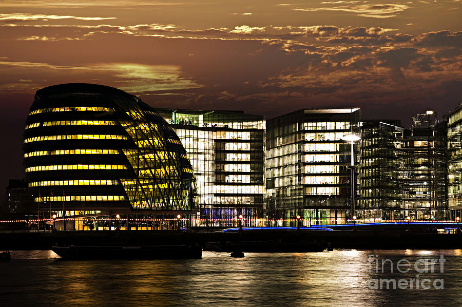 London Photograph - London City Hall At Night by Elena Elisseeva