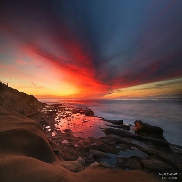 Long Exposure Sunset In La Jolla Photograph by Larry Marshall