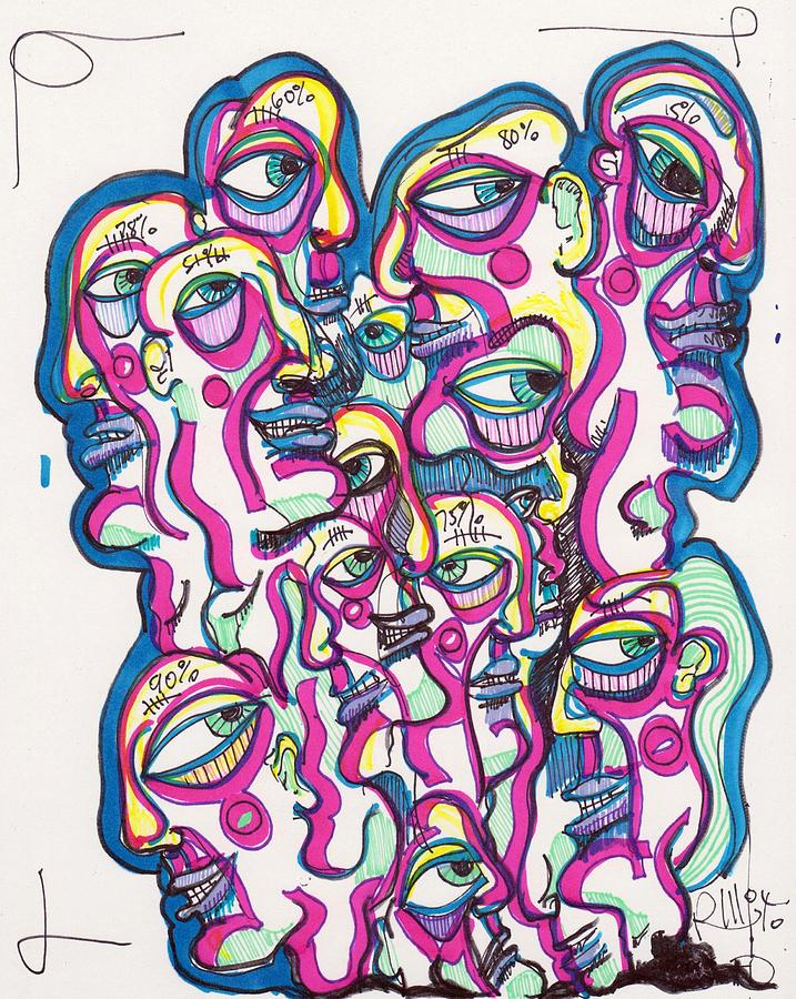 Contemporary Drawing - Look Around by Robert Wolverton Jr