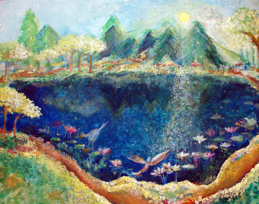 Lotus Lake Painting - Lotus Lake by Ashleigh Dyan Bayer