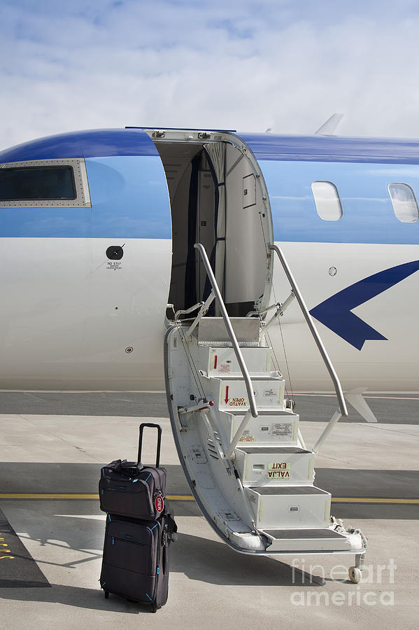 Air Travel Photograph - Luggage Near Airplane Steps by Jaak Nilson