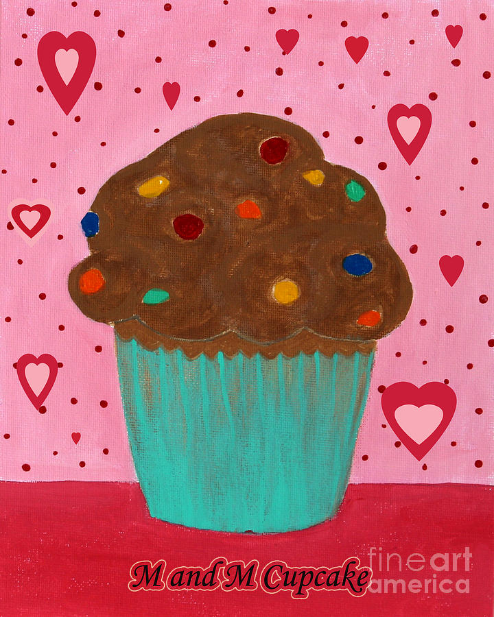 Cupcake Painting - M And M Cupcake by Barbara Griffin
