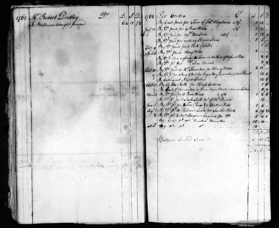 1762 Photograph - Madison: Account Book by Granger