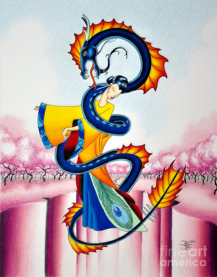 Maiden Drawing - Maiden And Serpent by Robert Ball