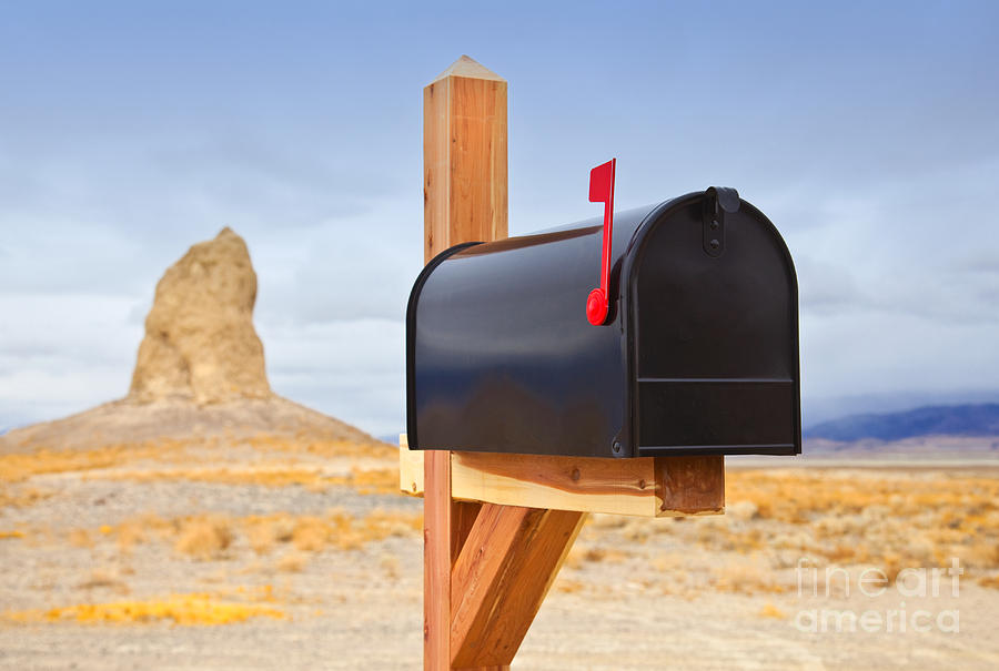 Arid Photograph - Mailbox In Desert by David Buffington