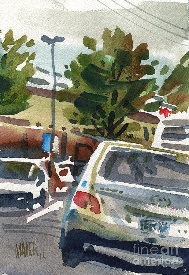 Shopping Painting - Mall Parking by Donald Maier