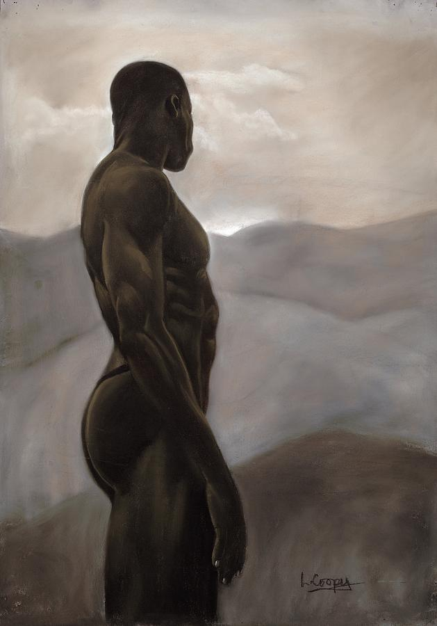 L Cooper Pastel - Man Looking At Sunset by L Cooper