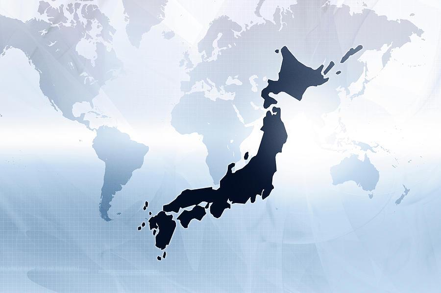 Horizontal Digital Art - Map Of Japan by Maciej Frolow