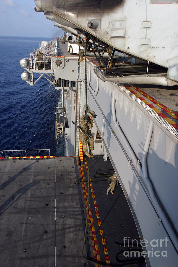 Aircraft Photograph - Marines And Sailors Fast-rope by Stocktrek Images
