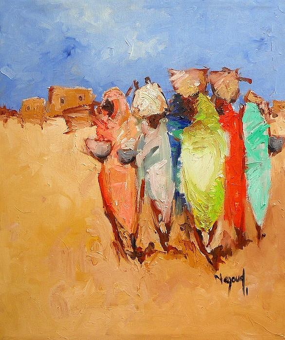 Landscape Painting - Market Day by Negoud Dahab