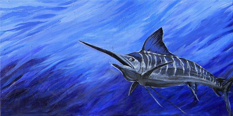Fish Painting - Marlin by Jenn Cunningham