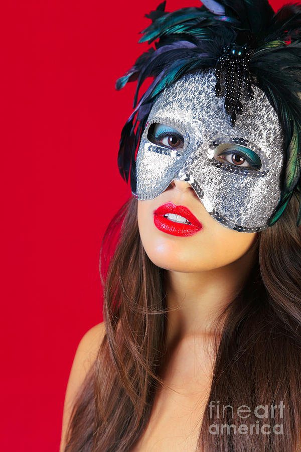 Woman Photograph - Masquerade Mask Red Background by Richard Thomas