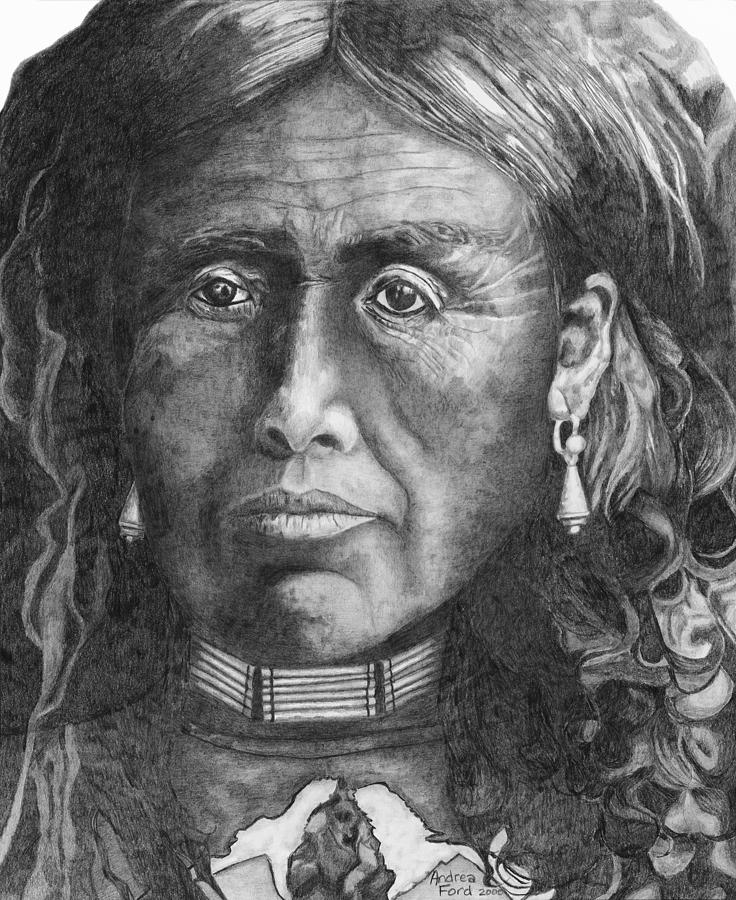 Graphite Drawing - Medicine Woman by Andrea  Ford