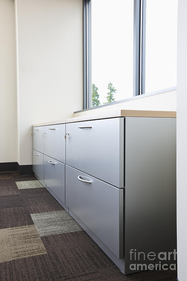 Architecture Photograph - Metal Drawers And Shelf by Jetta Productions, Inc
