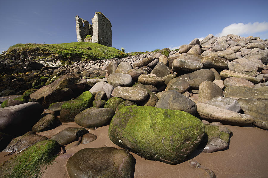 Blue Sky Photograph - Minard Castle And Rocky Beach Minard by Trish Punch