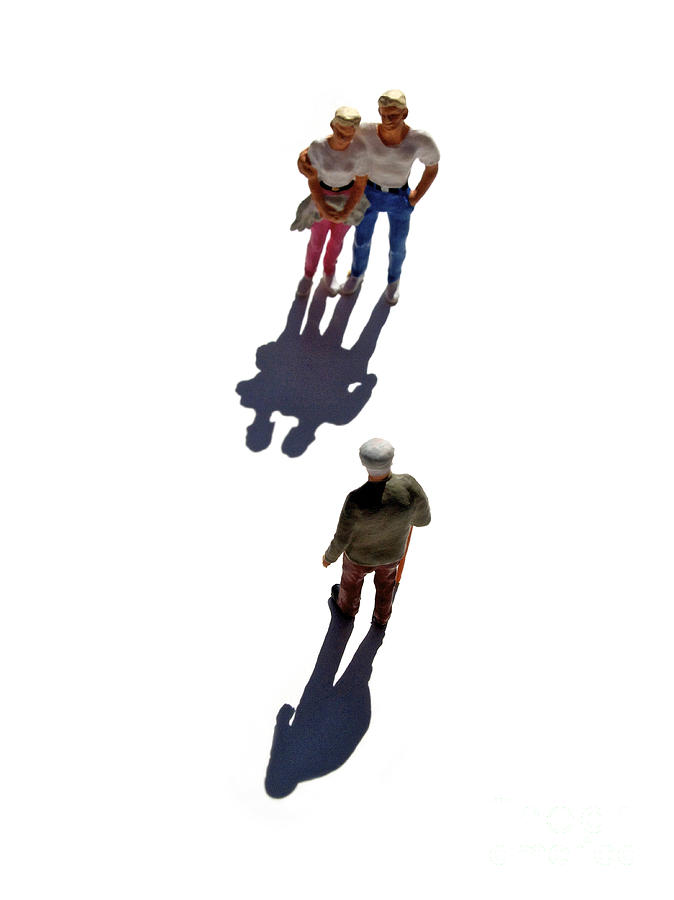 Watching Photograph - Miniature Figurines Couple Watching Elderly Man by Bernard Jaubert