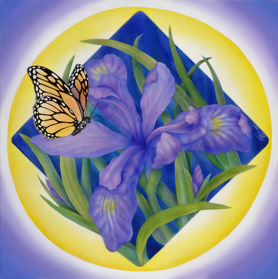 Floral Painting - Monarch Butterfly And Iris by Marcia  Perry
