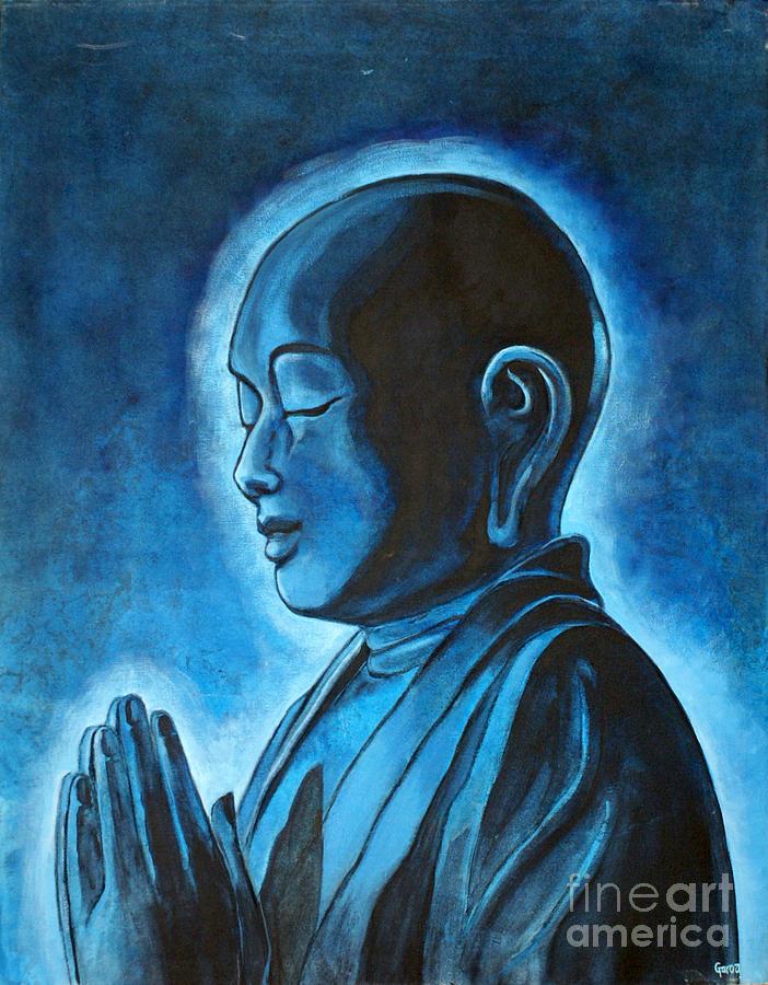 Buddha Painting - Monk Praying by Paulina Garoa