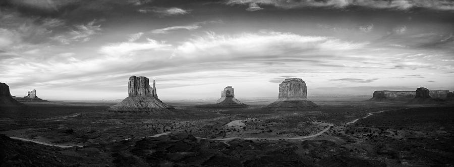 Clouds Photograph - Monument Valley Panorama by Andrew Soundarajan