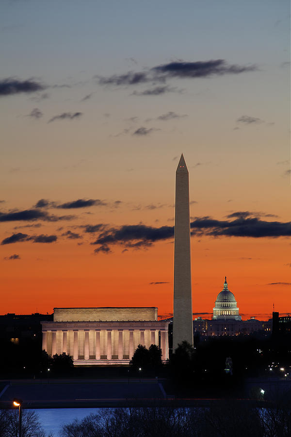 Metro Photograph - Monuments At Sunrise by Metro DC Photography