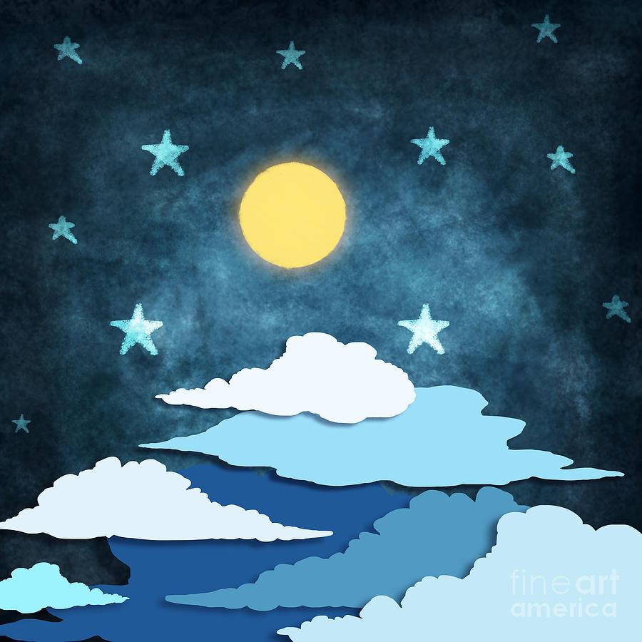 Background Painting - Moon And Stars by Setsiri Silapasuwanchai