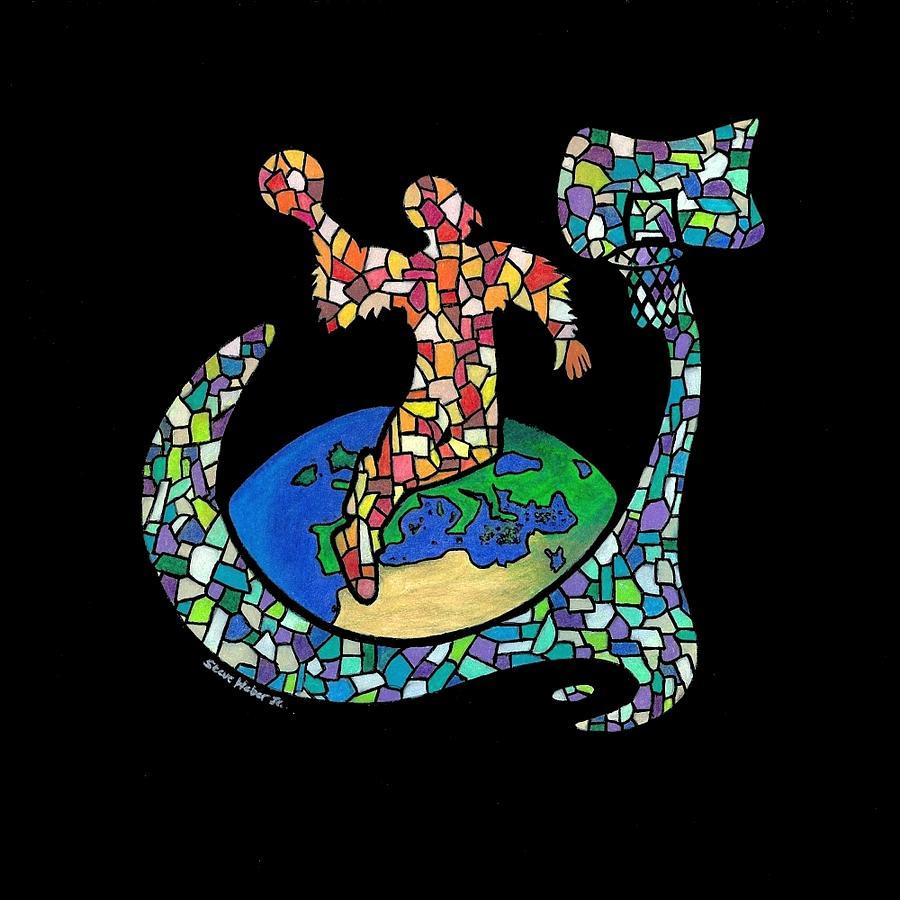 Birdman Drawing - Mosaic Ballin by Steve Weber