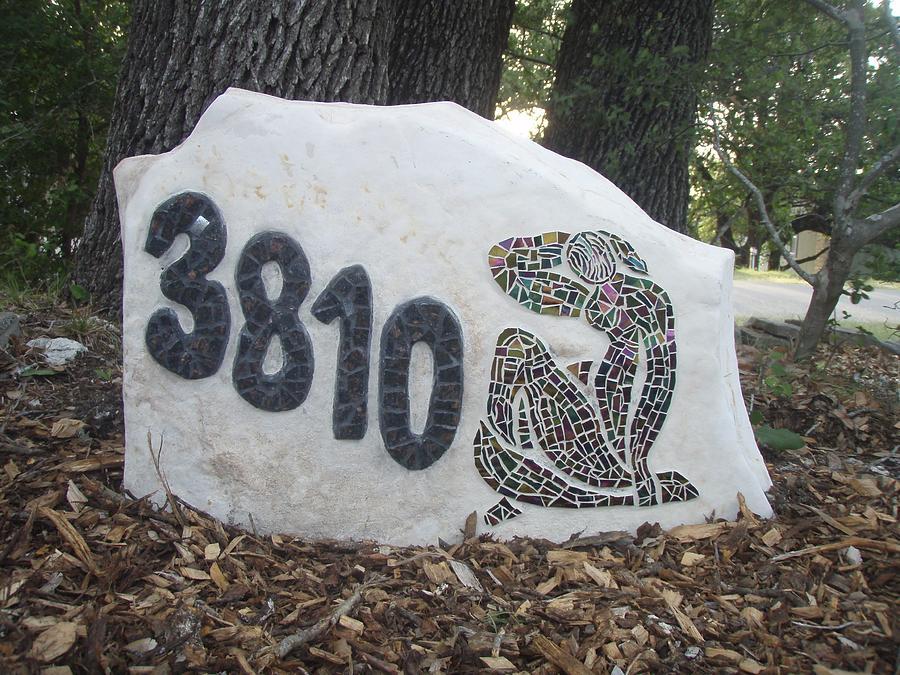 Stone Glass Art - Mosaic House Marker by Helene Vachon