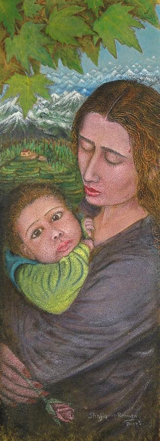Mother And Child Painting - Mother And Child by Shafiq-ur- Rehman