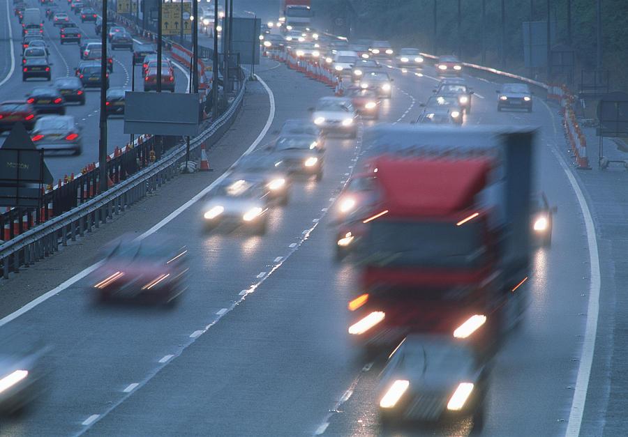 Traffic Photograph - Motorway Traffic by Jeremy Walker