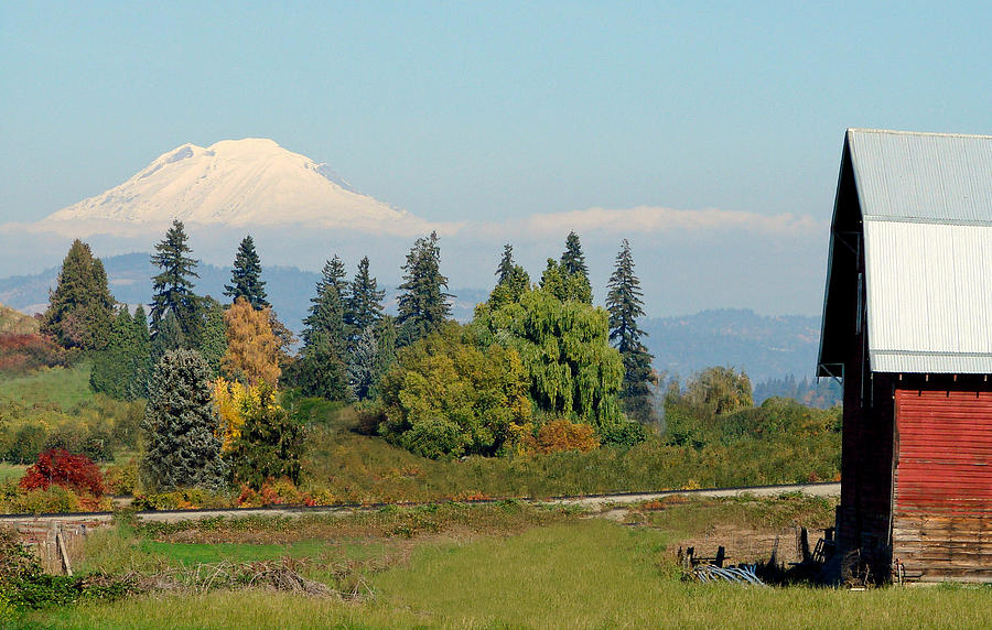 Red Barn Photograph - Mt. Adams In The Country by Athena Mckinzie