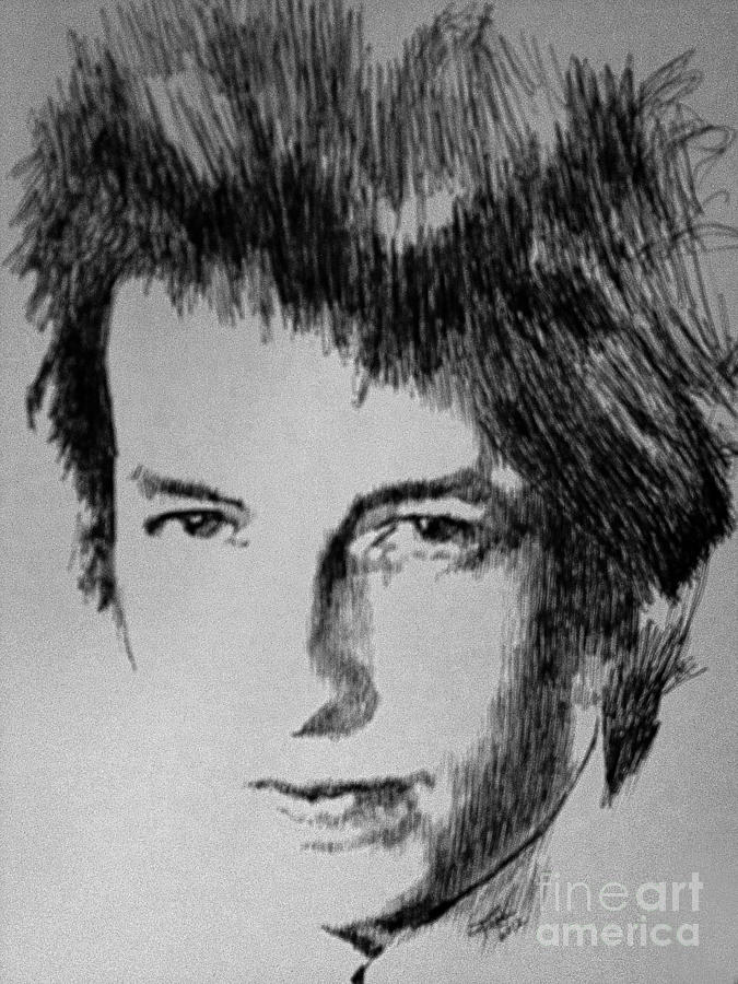Bob Dylan Drawing - Music Man by Robbi  Musser