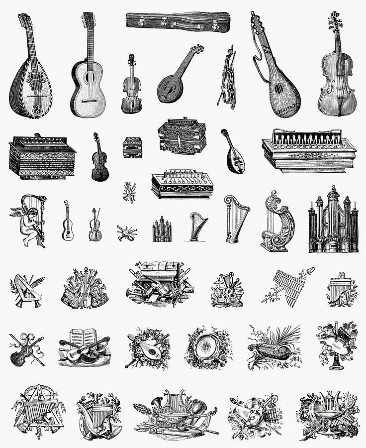 1900 Photograph - Musical Instruments by Granger