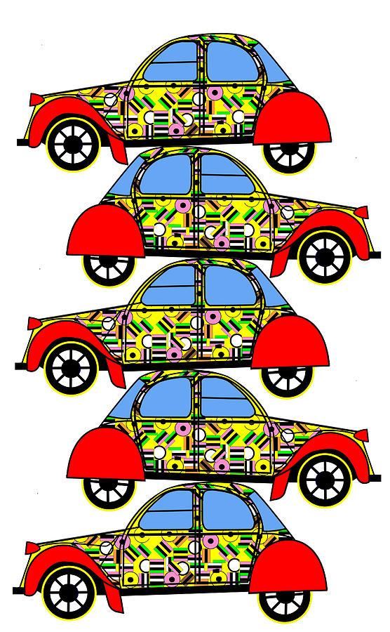 Liquorice Allsorts Digital Art - Nerds Car - Virtual Cars by Asbjorn Lonvig