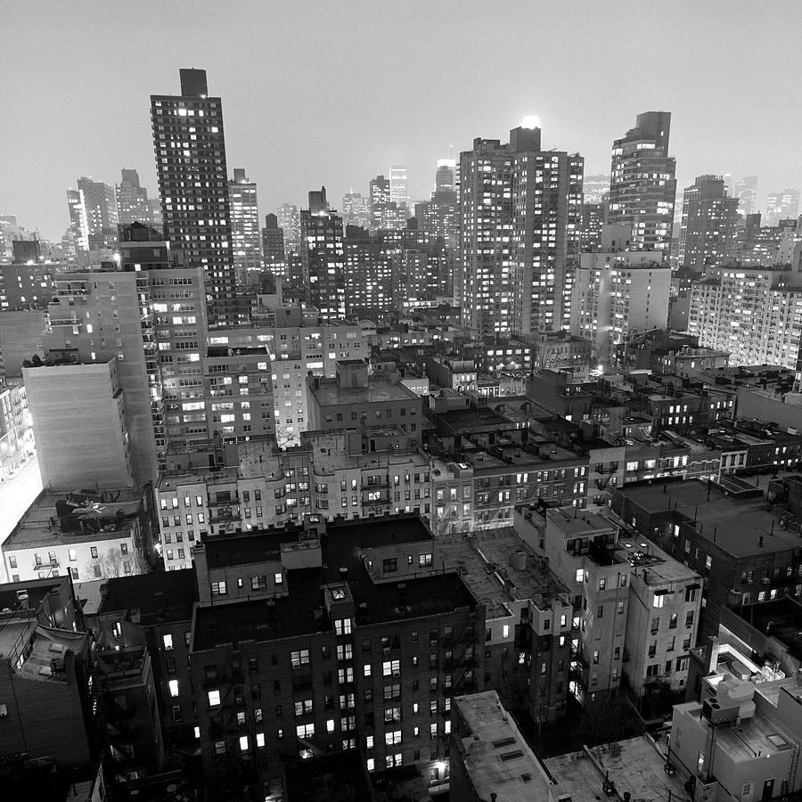 Square Photograph - New York City At Night by Adam Garelick