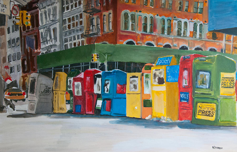 Cityscape Painting - Newsstands by Wayne Pearce