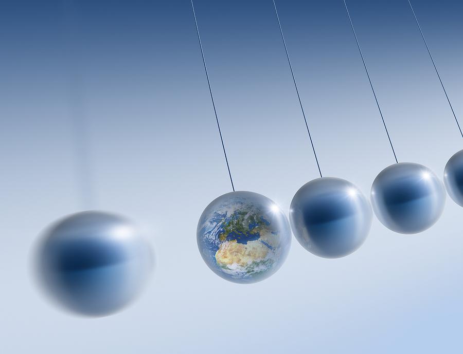 Newton's Cradle Photograph - Newtonian Earth, Conceptual Artwork by Detlev Van Ravenswaay