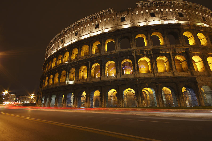 Arch Photograph - Night Lights Of The Colosseum Rome by Trish Punch