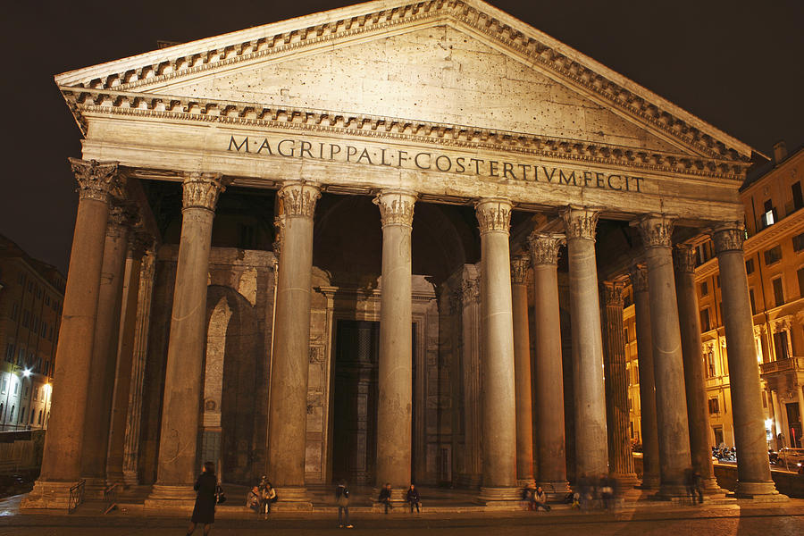 Church Photograph - Night Lights Of The Pantheon In Piazza by Trish Punch