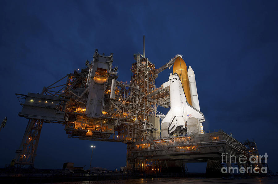 Atlantis Photograph - Night View Of Space Shuttle Atlantis by Stocktrek Images