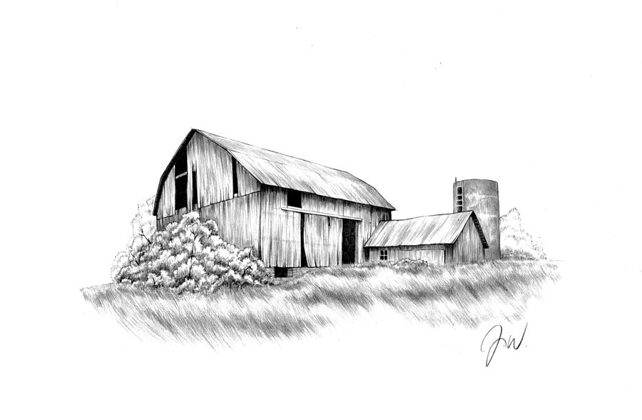 No Country For Old Barns Drawing By Jamie Warkentin
